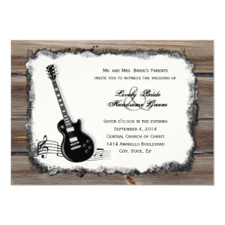 Invitation en bois de mariage de musique de