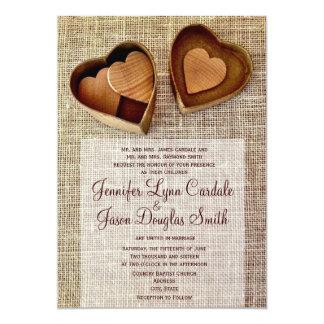 Invitation en bois de mariage de toile de jute de