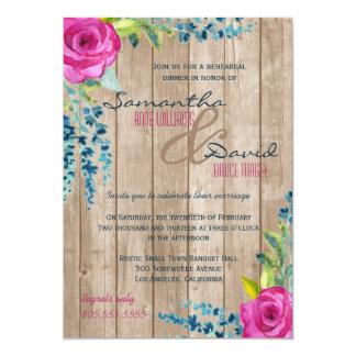Invitation en bois peint floral rustique de dîner