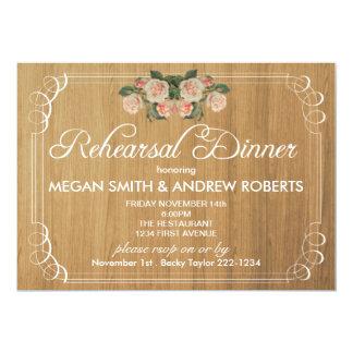 Invitation en bois rustique de dîner de répétition