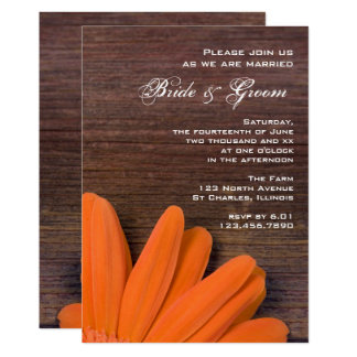 Invitation en bois rustique de marguerite orange