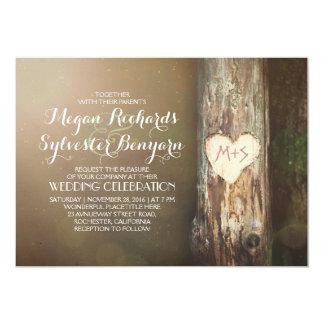 invitation en bois rustique de mariage campagnard