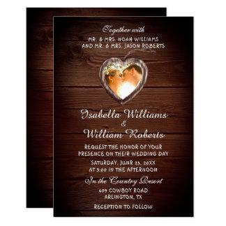 Invitation en bois rustique de photo de mariage de