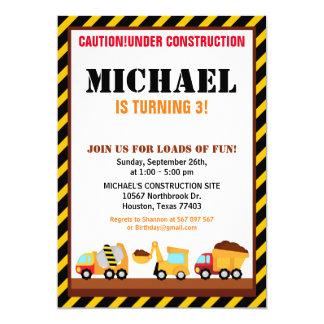 Invitation EN CONSTRUCTION de fête d'anniversaire