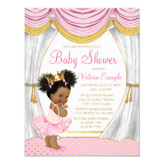 Invitation ethnique de princesse baby shower d'or