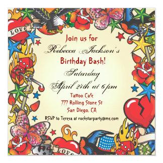 Invitation fabuleuse de partie de tatouage carton d'invitation  13,33 cm