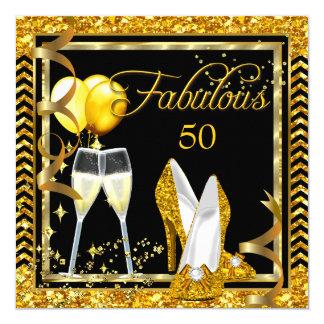 Invitation fabuleux de partie de noir d'or de 50