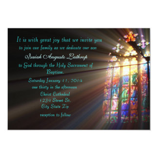 Invitation/faire-part de baptême en verre souillé carton d'invitation  12,7 cm x 17,78 cm