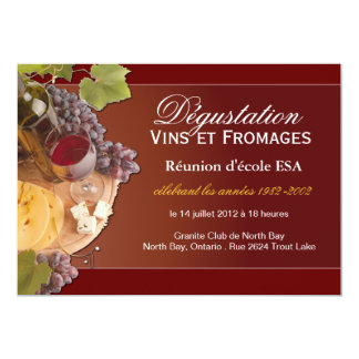 Invitation faite sur commande de vin et de fromage carton d'invitation  12,7 cm x 17,78 cm
