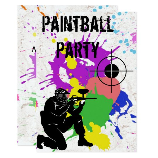 Invitation Fete D Anniversaire De Paintball Colore De Garcons