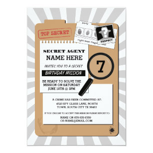 Surréaliste Invitations & Faire-part Agent Secret | Zazzle.fr SW-08