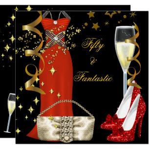 Invitations Rouge De Noir Et Or Anniversaires Zazzlefr