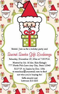 c98744ab115a Invitation Fête de Noël secrète mignonne de Père Noël