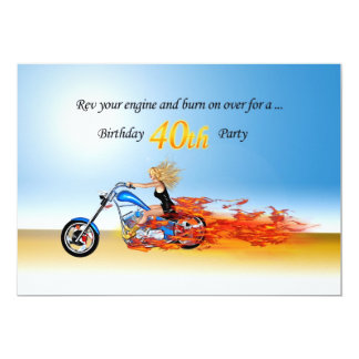 invitation flamboyante de partie de moto de carton d'invitation  12,7 cm x 17,78 cm