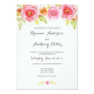 Invitation floral 3605 de mariage d'aquarelle rose