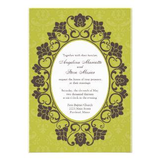 Invitation floral Chartreuse et de Brown mariage d
