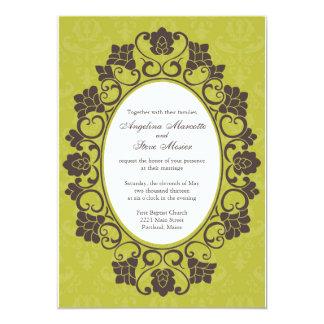 Invitation floral Chartreuse et de Brown mariage Carton D'invitation 12,7 Cm X 17,78 Cm