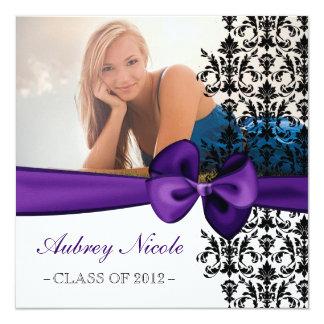 Invitation floral cintré d'obtention du diplôme de carton d'invitation  13,33 cm