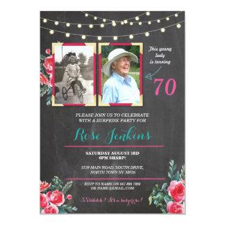 Invitation floral de 2 images d'anniversaire