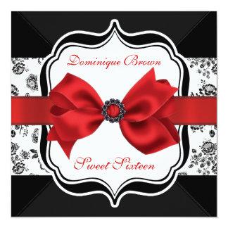 Invitation floral de damassé avec l'arc rouge carton d'invitation  13,33 cm