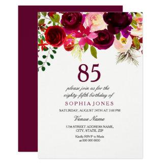 Invitation floral de fête d'anniversaire de