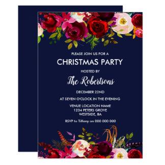 Invitation floral de fête de Noël de Bourgogne de