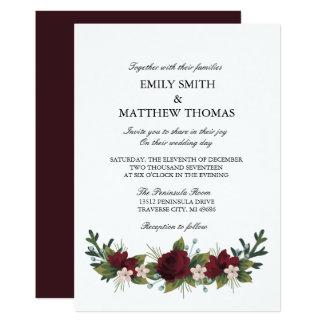 Invitation floral de mariage d'hiver de Marsala