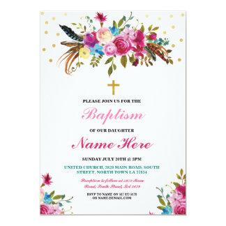 Invitation floral de plumes d'or de baptême de