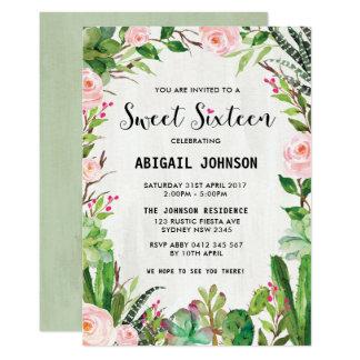 Invitation floral de rose de sweet sixteen de