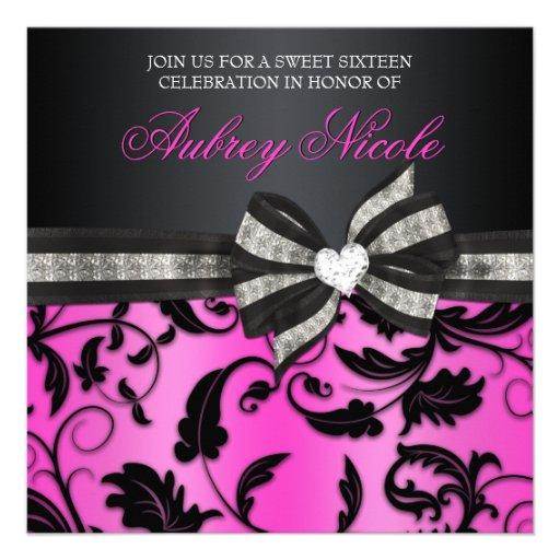 Invitation floral de sweet sixteen de remous avec