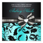 Invitation floral de sweet sixteen de remous avec carton d'invitation  13,33 cm