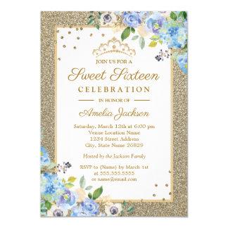 Invitation floral de sweet sixteen d'étincelle