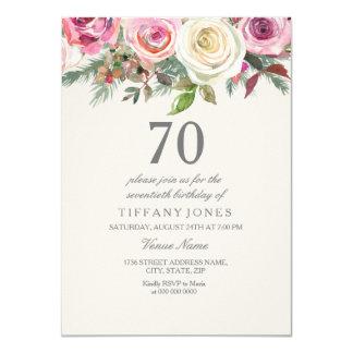 Invitation floral élégant d'anniversaire de rose