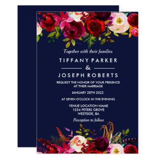 Invitation floral élégant de mariage de Bourgogne