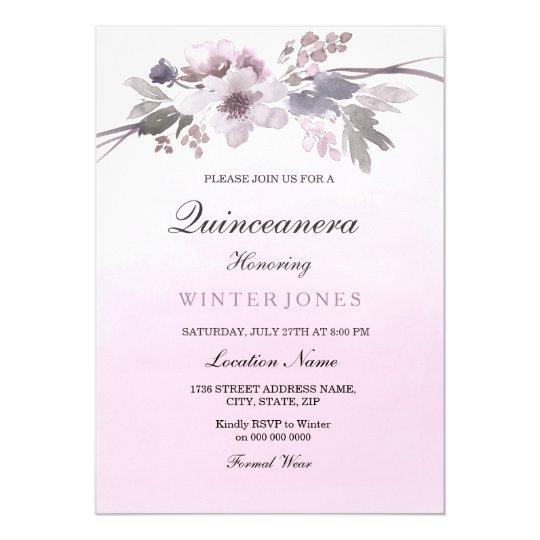Invitation floral en pastel pourpre d'Ombre