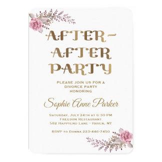 Invitation floral marron chic de partie de divorce