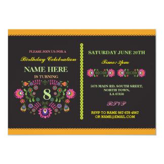 Invitation floral mexicain de motif d'anniversaire