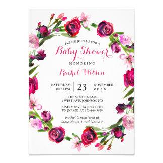 Invitation floral romantique de baby shower de