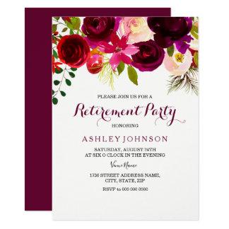 Invitation floral rouge de partie de retraite de
