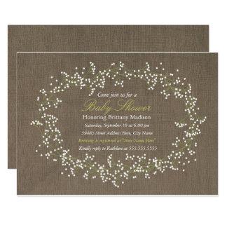 Invitation floral rustique de baby shower de