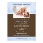 Invitation florale bleue de baptême de photo
