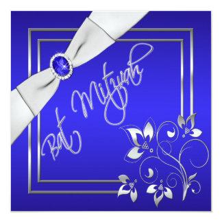 Invitation florale bleue et argentée de bat
