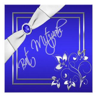 Invitation florale bleue et argentée de bat mitzva