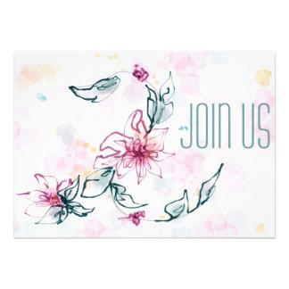 Invitation florale d aquarelle