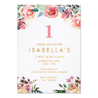 Invitation florale d'anniversaire de filles