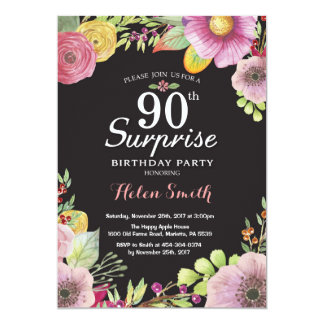 Invitation florale d'anniversaire de surprise