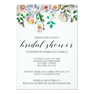 Invitation florale d'aquarelle de douche nuptiale