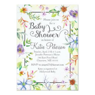 Invitation florale de baby shower