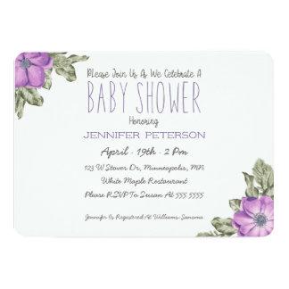 Invitation florale de baby shower d'anémone