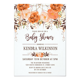 Invitation florale de baby shower d'automne de